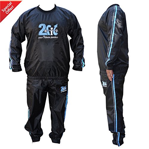 2Fit® Heavy Duty Sweat Suit Sauna Exercise Gym Suit Fitness, Weight Loss, Anti-Rip Blue