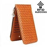 LETMEBUY Wallets for Women Card Case Leather RFID Blocking Bifold Wallet with Zipper Pocket,KL822-lightbrown