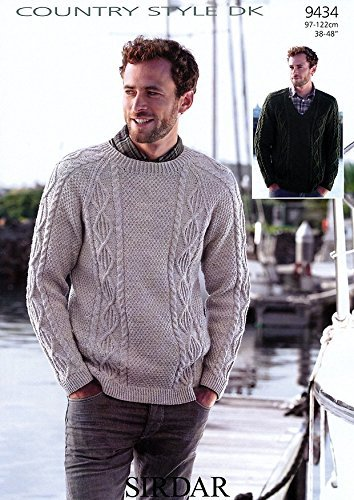 Knitting Pattern for Man's Sweaters. To Knit in Country Style DK. Sirdar 9434 by Sirdar by Sirdar