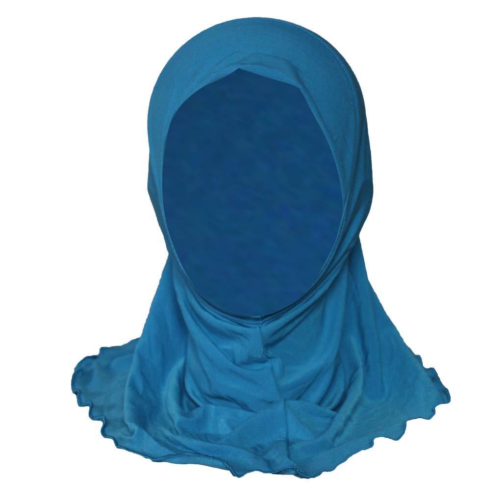 LRWEY Child Muslim Hat Chemo Hair Head Scarf Headwrap Cap Abaya Scarf Gown Hijab Middle East Arab Islamic Turkish for Children Small Girls Kids Hijab Stretch Turban with Lace Scarf Shawls