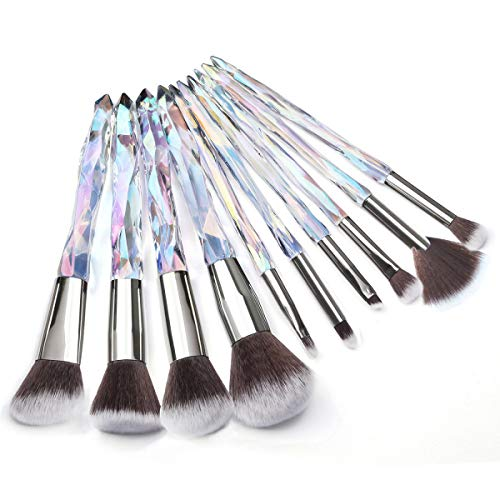 Adpartner 10PCS Makeup Brushes Set, Unique Crystal Wand Handle Cosmetic Brush Professional Kabuki Foundation Concealer Blush Eye Shadow Makeup Tools - B