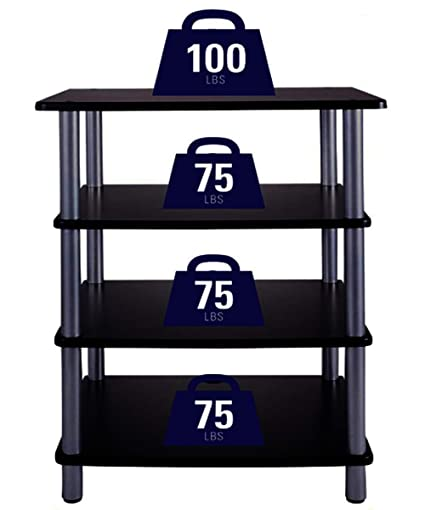Stereo Rack Furniture Cabinet Home Console Storage Stand Organize 4 Shelves  Gaming Playroom Sturdy Video