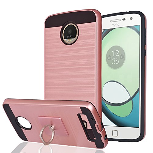 Moto Z Play / Moto Z Play Droid Case With Phone Stand,Ymhxcy [Metal Brushed Texture] Hybrid Dual Layer Full-Body Shockproof Protective Cover Shell For Motorola Moto Z Play Droid(2016)-LS Rose Gold
