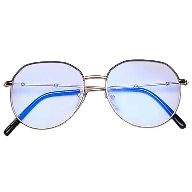 d2e28e68b9e Embryform Unisexe Rétro Rondes Metalique Cadre Frame Lunettes Vintage Verres  Transparent Style Aviateur Pilote Eyeglasses pour