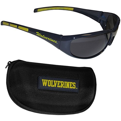 Siskiyou NCAA Michigan Wolverines Wrap Sunglasses & Zippered Case, Blue