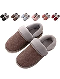 OOLIVUPF Womens Mens Cotton Slippers Memory Foam Plush Lining Slip-on House Shoes Indoor Outdoor(FBA)