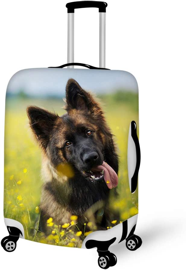 Cute German Shepherd Puppy 18-21 inch Travel Luggage Cover Spandex Suitcase Protector Washable Baggage Covers