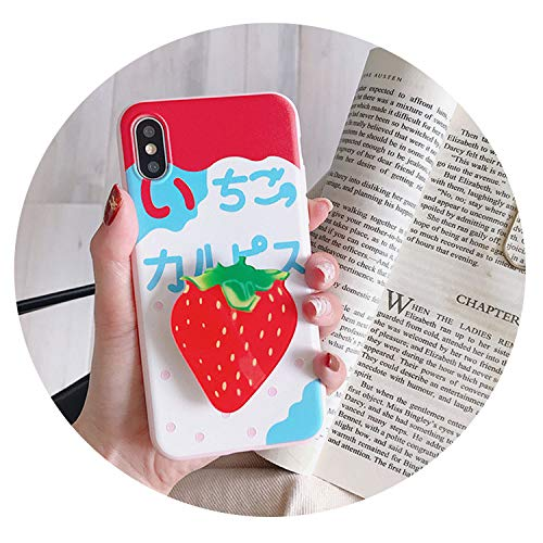 - for iPhone 6S 7 8 Plus X Mobile Phone Airbag Bracket Protective Shell Fruit Pattern Retractable Airbag Bracket Mobile Phone Shell,Strawberry Pattern,for iPhone xr