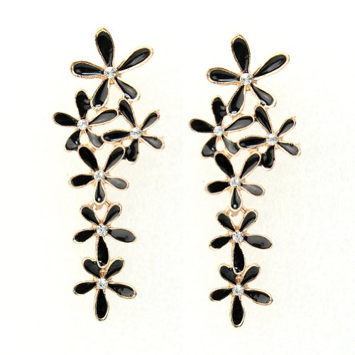 elegant vintage fashion Bohemia Snowflake Flower Long Dangle Ear Stud Drop Earrings Black for party date