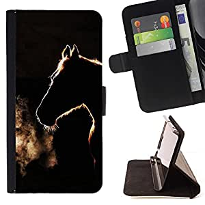 Momo Phone Case / Flip Funda de Cuero Case Cover - Black Horse Étalon - LG OPTIMUS L90