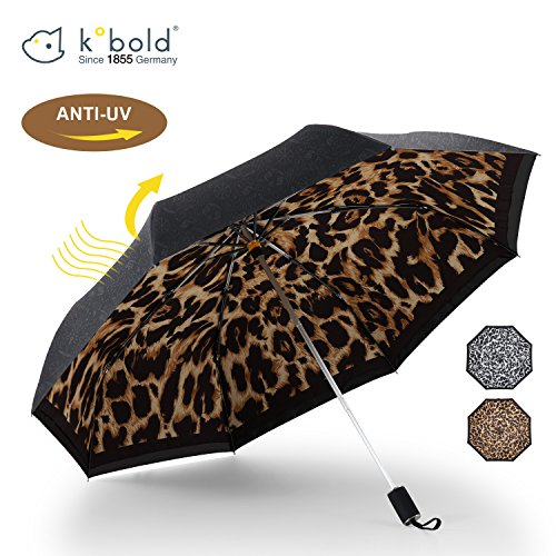 Kobold Tavel Umbrella Compact Mini Lightweight Travel Umbrellas for Women Double Layers Canopy for Rain Sun Protection Comfortable Handle Leopard Print by Kobold