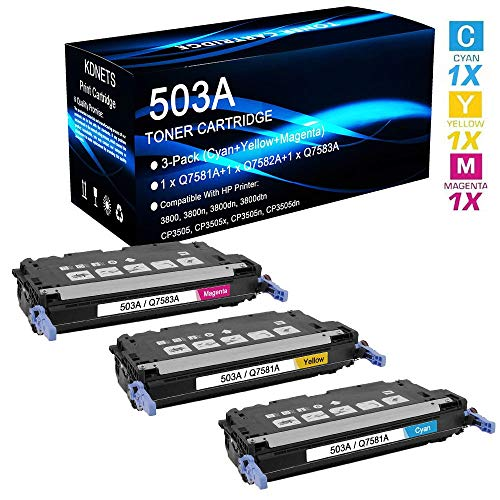 3-Pack Compatible 503A Set (Q7581A+Q7582A+Q7583A) Print Cartridge Use for HP Color Laserjet CP3505dn Printer (Cyan, Yellow, Magenta), by KDNETS