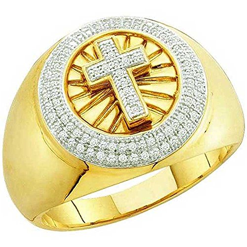 0.30 Carat (ctw) 10K Yellow Gold White Diamond Men's Hip Hop Micro Pave Cross Band Ring by DazzlingRock Collection