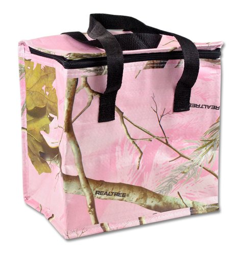 DII Real Tree Insulated Cooler, Perfect for Parties, Farmers Markets, BBQ's, Grocery Shopping, Potlucks, or Used As A Lunch Bag- (Pink Camo Lunch Box)
