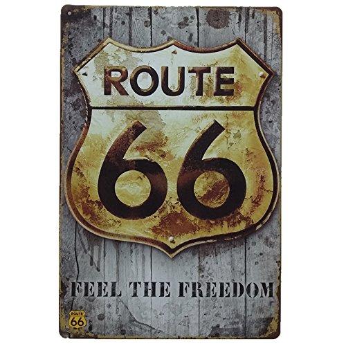MARQUISE & LOREAN Ruta 66 Decoración Pared | Placa Decorativa Vintage Route | Cartel Chapa Póster (Oro y Blanco, 20 x 30 cm)