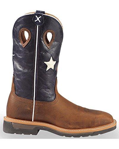 Gedraaide X Mens Lite Texas Vlag Pull-on Werkschoen Stalen Neus Bruin 13 B (m) Ons