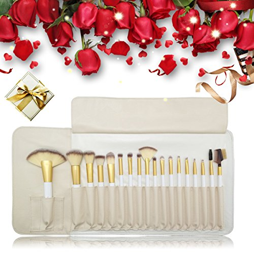 Merrynice 18pcs Deluxe Makeup Brush Set, Professional Premium Synthetic Cosmetic Brushes, Perfect for Foundation Face Powder Blending Blush Bronzer Eyeliner Eye Shadow Brows