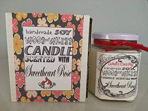 Sweetheart Roses Scented Soy Wax Container Candle With Wood Wick 12 Oz US Handmade