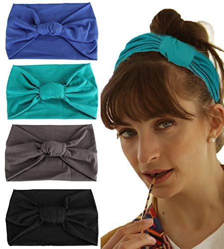 Scarf Jewelry Accessory - Adramata 4 Pcs Boho Headbands for Women Vintage Flower Printed Criss Cross Elastic Head Wrap Twisted Cute Hair Accessories