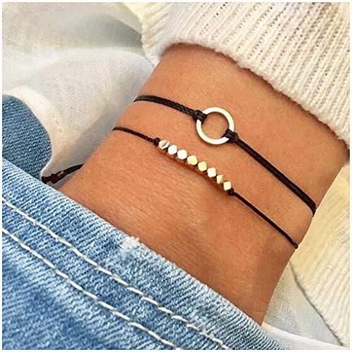 Olbye Multi Layer Circle Bracelet Karma Hand Chain With Black Hemp Body Jewelry for Women and Girls - Multi Circle Bracelet