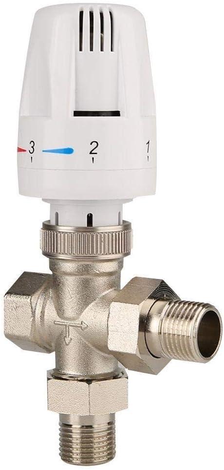 DN20 3//4inch Rockyin 3 Way Thermostatic Radiator Valve Brass Automatic Temperature Control Valve