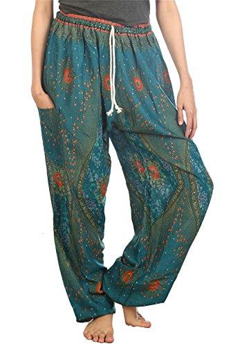 Lofbaz Pantalones Verde Yoga Mujeres Harén Cintura De Trullo Boho Floral 2 Cordón Ropa gqE4gHrn7w