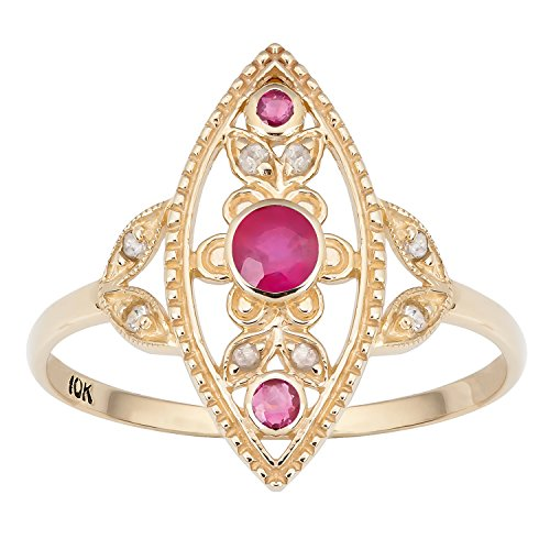 Ruby Antique Style Ring - Instagems 10k Yellow Gold Antique Style Genuine Round Ruby and Diamond Ring