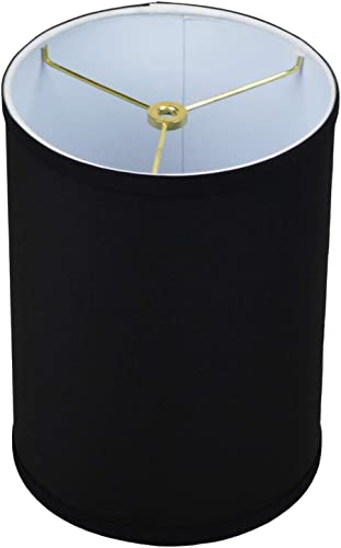 FenchelShades.com 8 Top Diameter x 8 Bottom Diameter 11 Height Fabric Drum Lampshade Spider Attachment Linen Black