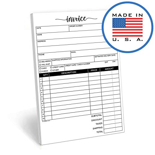 321Done 2-Part Carbonless Invoice Purchase Order Form, 50 Sets Per Pad, Sales Receipt, Small Half-Letter Size 5.5