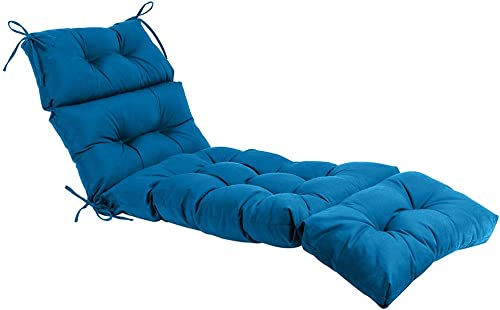 QILLOWAY Indoor/Outdoor Chaise Lounge Cushion,Spring/Summer Seasonal All Weather Replacement Cushions. Peacock Blue