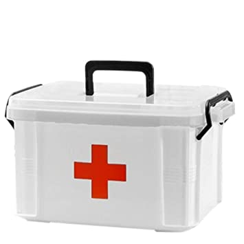Genial First Aid Kit Box Case,Lanticy Emergency Medicine Storage Box 2 Layer  Plastic Clear First