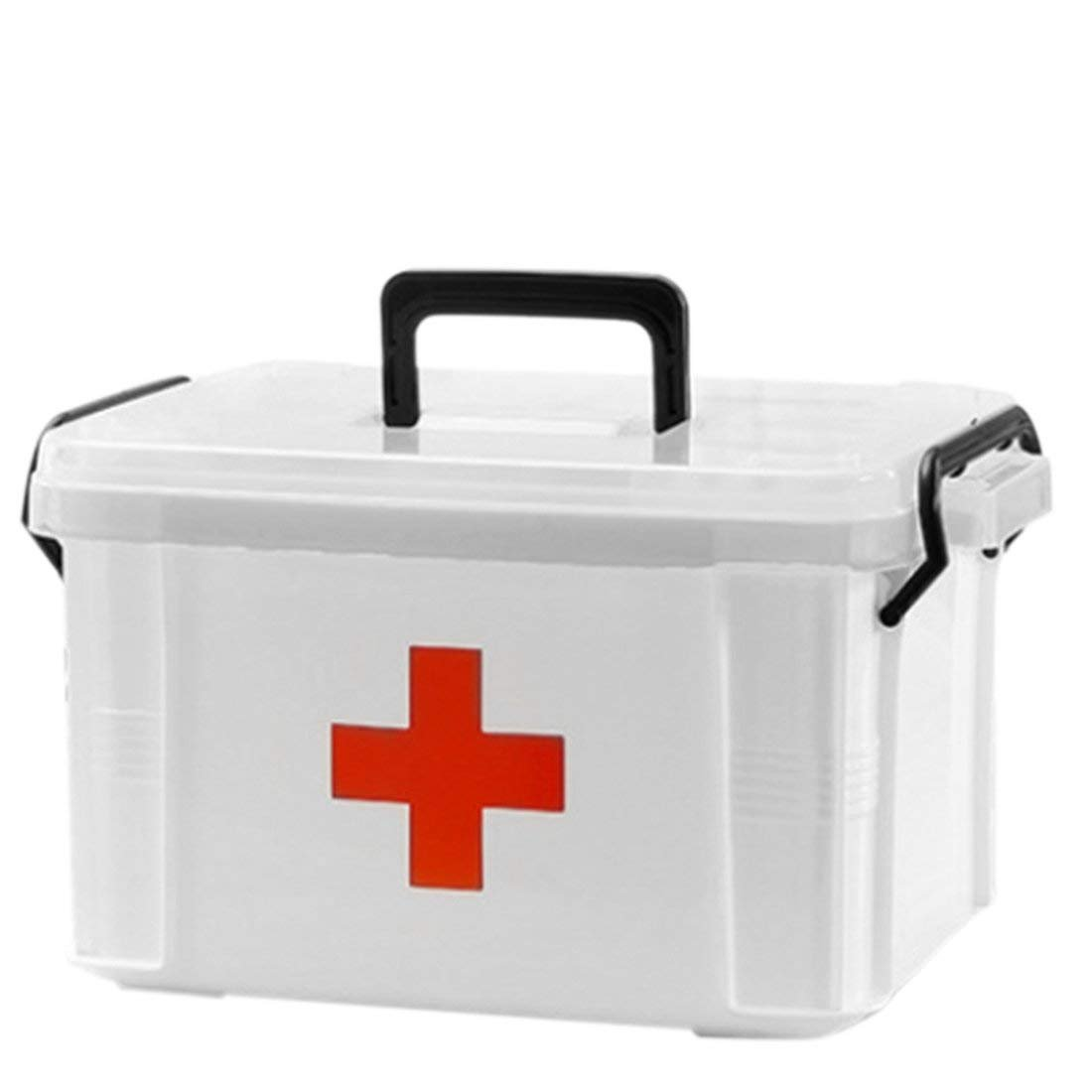 First Aid Kit Box Case,Lanticy Emergency Medicine Storage Box 2 Layer Plastic Clear First Aid Container Family Medicine Holder Cabinets Household Medical Box 24 x 17.5 x 14cm by Lanticy
