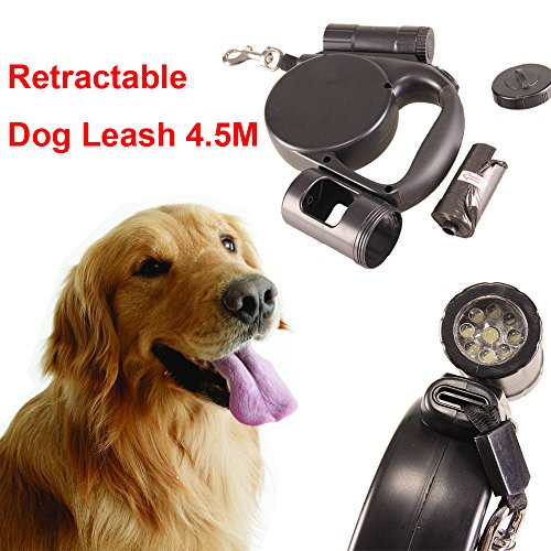 Price comparison product image Smdoxi Retractable Dog Leash;Walking Leash with Bright Flashlight for Small to Medium Breeds; Tangle Free; One-Handed Brake,  Pause & Lock; Waste Dispenser & Bags Included (Black)