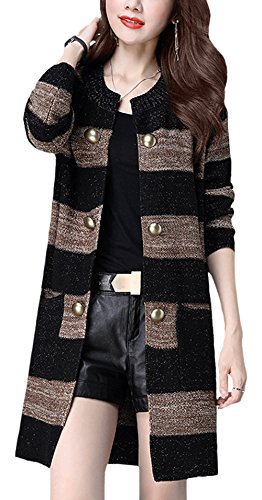 CLJJ7 Women's Open Front Mid-long Knit Cardigan Sweater Jacket (X-Large, Black)
