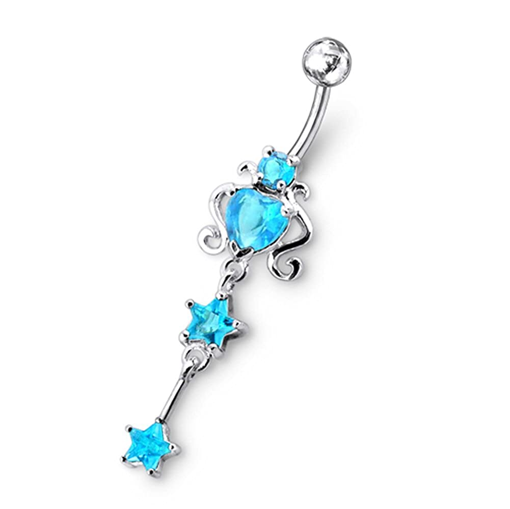 AtoZ Piercing Fancy Heart with Star Dangling 925 Sterling Silver with Stainless Steel Belly Button Rings