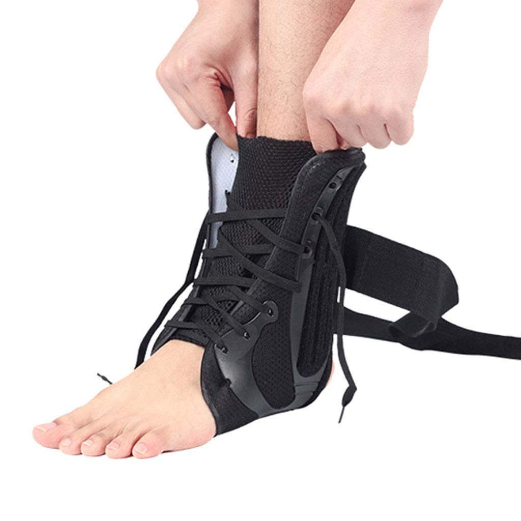 DONGBALA Ankle Support, Adjustable Ankle Brace Tie His Shoe Design Multiple Pressure Fracture Fixation for Sprains Arthritis,Left,L
