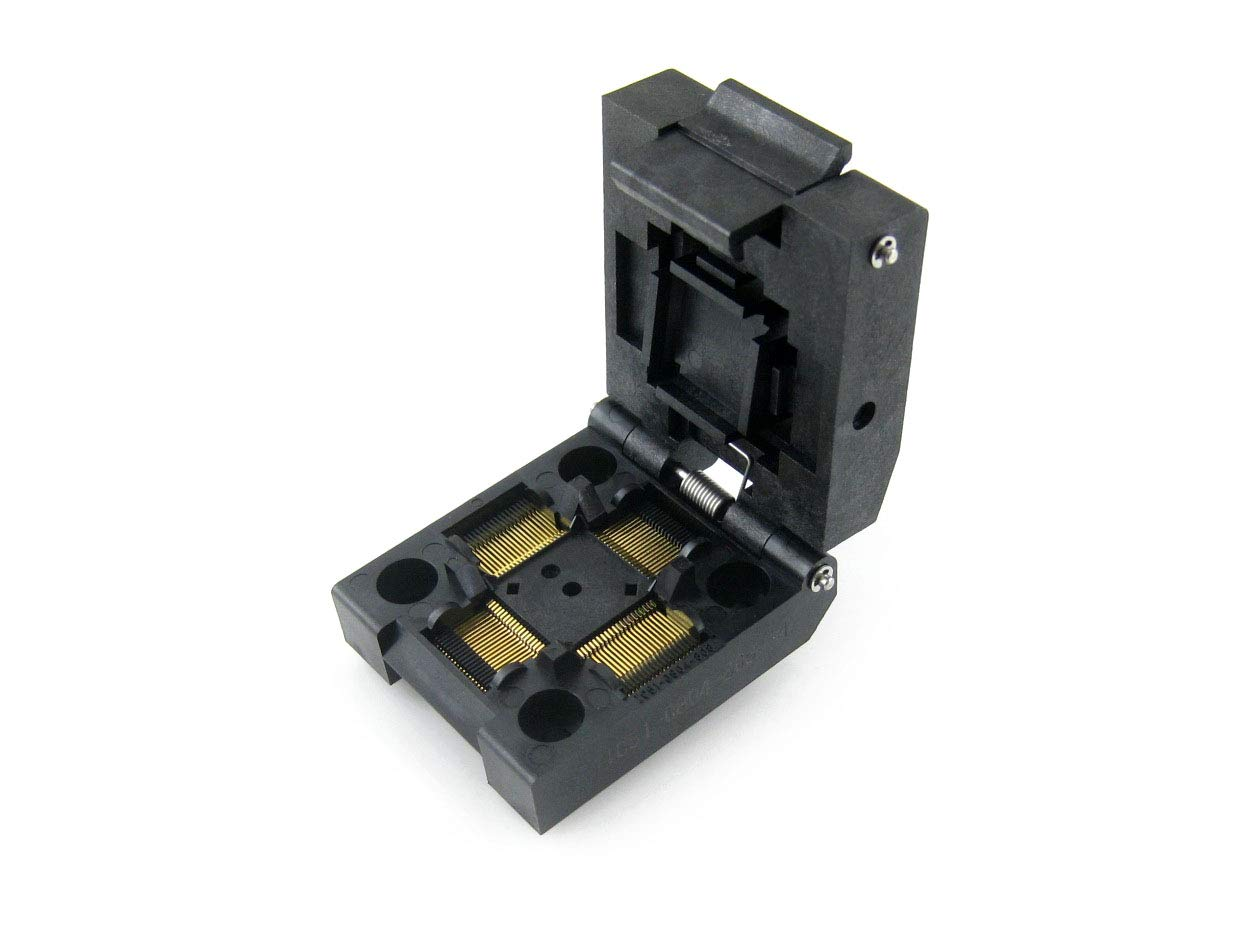 QFP80 Clamshell Programming Adapter Socket/Burning Socket/IC Test Socket IC51-0804-808-14, 80-Pin, 0.5mm Pitch, Yamaichi IC Test Burn-in Socket, Applied to QFP80, TQFP80, FQFP80, PQFP80 Packages. by pzsmocn