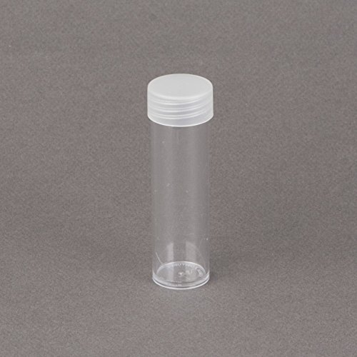 (5) Round Clear Plastic (Penny Cent) Size Coin Storage Tube Holders Screw on Lid