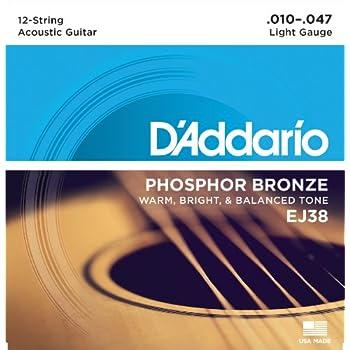 DAddario 12 Phosphor Bronze Acoustic Guitar Strings, Light, 10-47 (EJ38