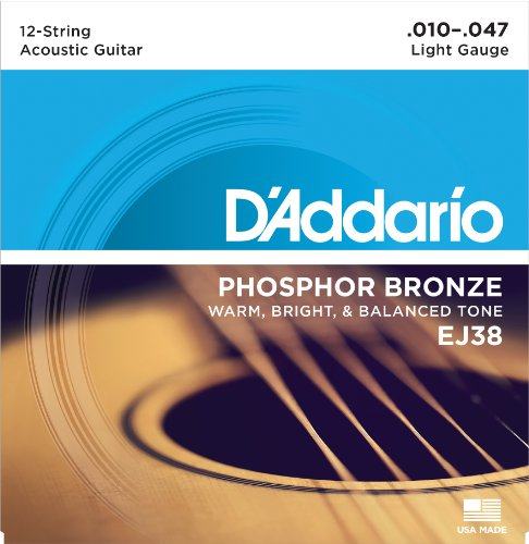 D'Addario EJ38 12-String Phosphor Bronze Acoustic Guitar Strings, Light, 10-47 (Electric 12 String Guitar Strings)