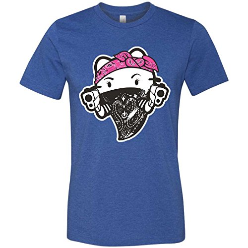 Hello Kitty Gangster Thug Mens Fitted Tee - Heather True Royal X-Large (Hello Kitty Gangster)