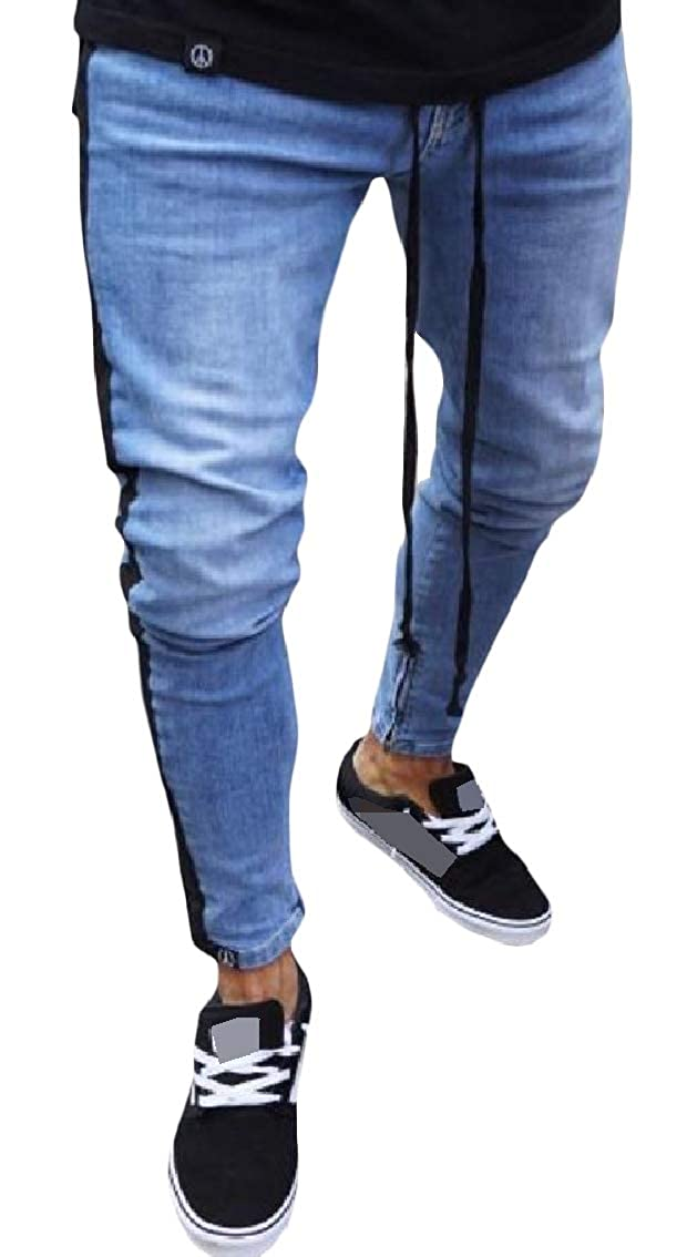 Coolred-Men Stitch Destroyed Zips Pocket Fitted Mid Waist Fashionable Denim Pants