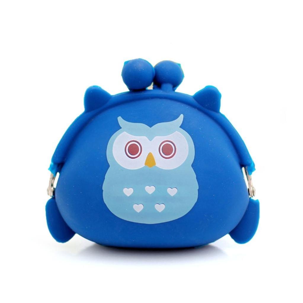 gbsellレディースフクロウシリコンゼリー財布変更バッグキーポーチコイン財布(ブルー)   B019MDO0X8