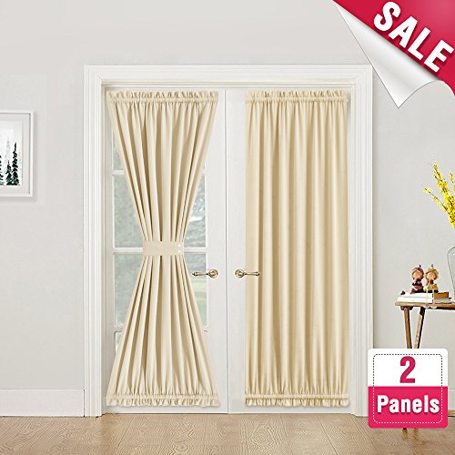 Panel Package Door (Room Darkening French Door Curtains 72 inches Long 2 Panels French Door Panels Privacy French Door Panel Curtains with 2 Bonus Tiebacks, Beige)