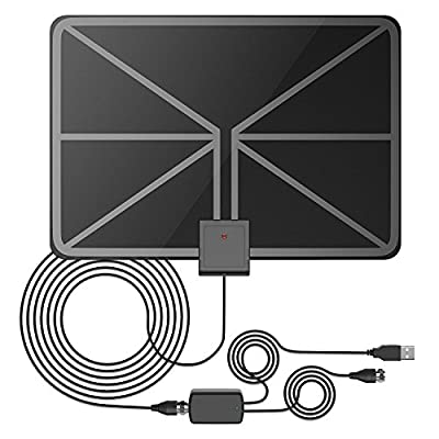 QERY 50 Miles 1080P Digital HDTV Antenna , Indoor Amplified HDTV Antenna with Detachable Amplifier Signal Booster, USB PowerSupply and 16.5FT High Performance Coax Cable - Better Reception