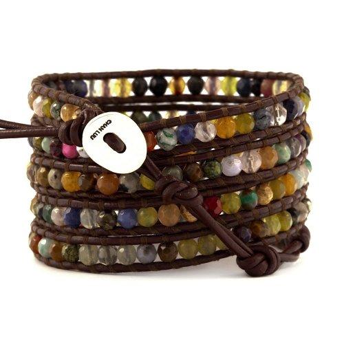 Chan Luu Women's Leather Multi Stone Signature Wrap Bracelet (Brown Leather) by Chan Luu