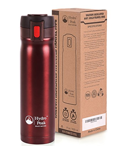 Hydro Peak Double Wall Vacuum Insulated 304 Stainless Steel Coffee Travel Mug with One Touch Lock Lid, Mulberry Red, 17-Ounce