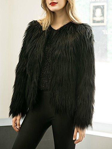 Apparel sintética marca de piel Negro de mujer Chaqueta Simplee para la 1wzEnq