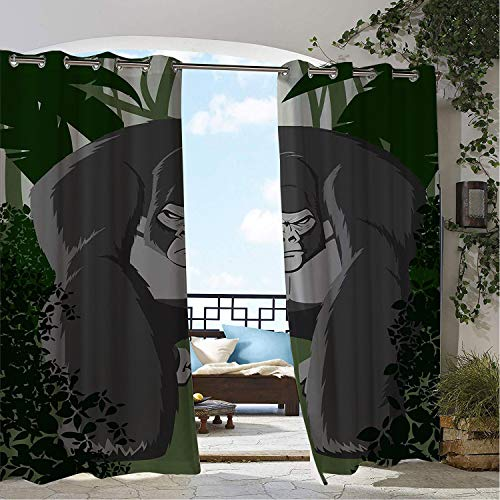 Linhomedecor Patio Waterproof Curtain Gorilla Aggressive Strong Primate Animal in Tropical Jungle Rainforest Wildlife Dark Green and Grey pergola Grommets Backdrop Curtains 72 by 108 inch ()
