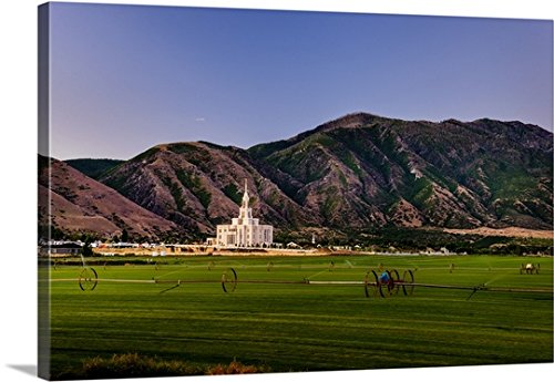 Scott Jarvie Gallery-Wrapped Canvas entitled Payson Utah Temple, Mountains and Farmland, Payson, Utah by greatBIGcanvas